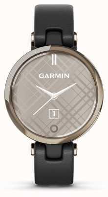 Garmin Lily klassieke editie | crème gouden ring | zwarte behuizing | italiaanse lederen band 010-02384-B1