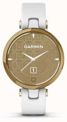 Garmin Lily klassieke editie | licht gouden ring | witte hoes | italiaanse lederen band 010-02384-B3