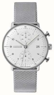 Junghans Max bill chronoscoop | stalen mesh band | 027/4003.48