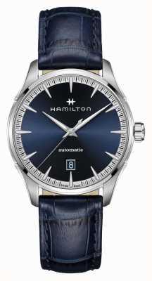 Hamilton Jazzmaster | auto | blauwe leren band | blauwe wijzerplaat H32475640