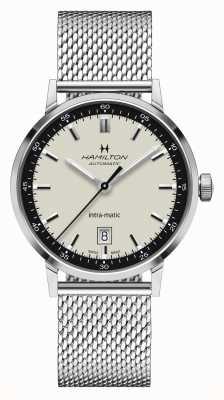 Hamilton Amerikaanse klassieker | intra-matic | stalen mesh armband | witte wijzerplaat H38425120