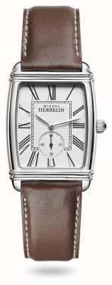 Michel Herbelin Dames | art déco | zilveren wijzerplaat | bruine lederen band 10638/08MA