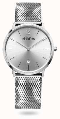 Michel Herbelin Stad | roestvrijstalen mesh-armband | zilveren wijzerplaat 19515/11B