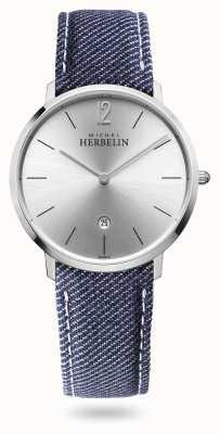Michel Herbelin Stad | denim riem | zilveren wijzerplaat 19515/11JN