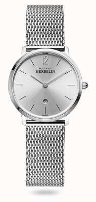 Michel Herbelin Stad | zilveren wijzerplaat | roestvrijstalen mesh armband 16915/11B
