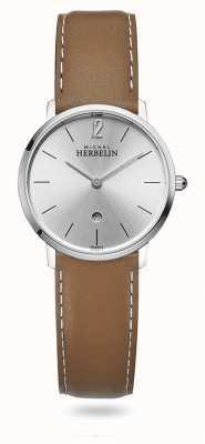 Michel Herbelin Stad | zilveren wijzerplaat | bruine lederen band 16915/11GO