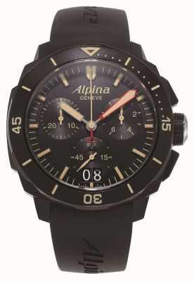 Alpina Seastrong duiker 300 | chronograaf | zwarte siliconen band AL-372LBBG4FBV6
