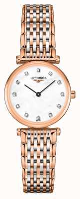 Longines Dames | la grande classique | diamanten wijzerplaat | tweekleurige stalen armband L42091977