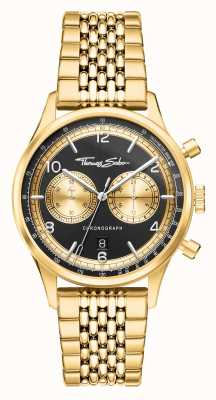 Thomas Sabo | rebel in hart en nieren | heren | goudkleurige armband | zwarte wijzerplaat | WA0376-264-203-40