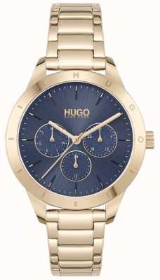 HUGO #vriend | vergulde stalen armband | blauwe wijzerplaat 1540092