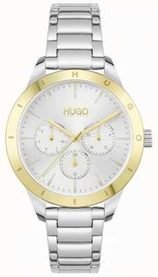 HUGO #vriend | roestvrijstalen armband | zilveren wijzerplaat 1540090