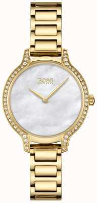 BOSS | gala | vrouwen | vergulde armband | witte parelmoer wijzerplaat | 1502557