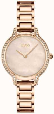 BOSS | gala | vrouwen | rosé gouden armband | roségouden parelmoer wijzerplaat | 1502556