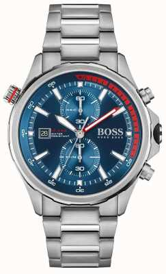 BOSS | globetrotter | heren | roestvrijstalen armband | blauwe wijzerplaat | 1513823