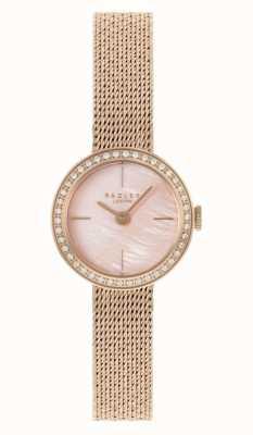 Radley vrouwen | rosé vergulde mesh armband | roze parelmoer wijzerplaat | RY4570