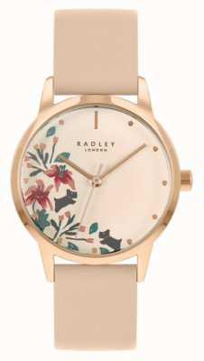 Radley Nude / lichtroze leren damesriem | crème bloemen wijzerplaat RY21220A