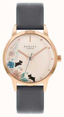 Radley Zwarte leren damesband | crème bloemen wijzerplaat RY21262A