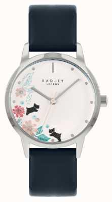 Radley Blauwe leren damesband | witte bloemen wijzerplaat RY21229A