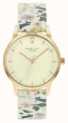 Radley Witte leren damesband met bloemen | champagne wijzerplaat RY21232A