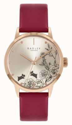 Radley | vrouwen | rode leren band | zilveren wijzerplaat | RY21244A