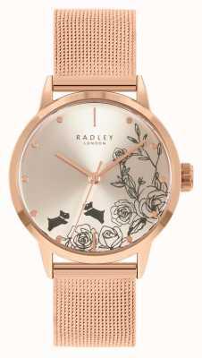 Radley Roségouden damesarmband van mesh | zilveren bloemen wijzerplaat RY4582A