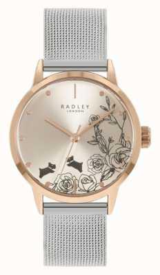 Radley Damesarmband van roestvrij staal, zilvergaas | zilveren bloemen wijzerplaat RY4581A