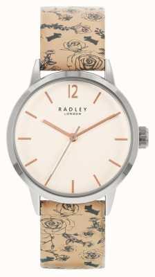 Radley vrouwen | leren riem met beige patroon | witte wijzerplaat | RY21245A
