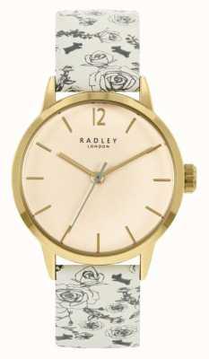 Radley Leren riem met crèmekleurig patroon voor dames | crème wijzerplaat RY21248A