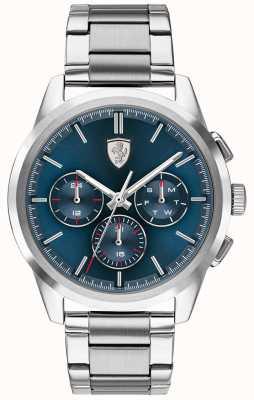 Scuderia Ferrari | grote tour | blauwe wijzerplaat | roestvrijstalen armband | 0830804