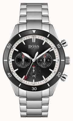 BOSS | heren | Santiago | zwarte wijzerplaat | roestvrijstalen armband | 1513862