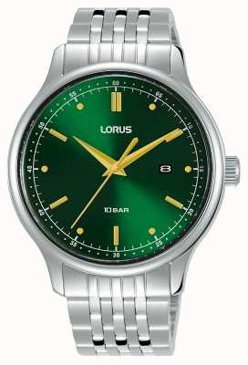 Lorus Heren | groene sunray wijzerplaat | roestvrij stalen armband RH907NX9