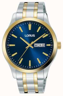 Lorus Heren | blauwe wijzerplaat | tweekleurige roestvrijstalen armband RH342AX9