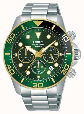 Lorus Heren | chronograaf | groene wijzerplaat | roestvrij stalen armband RT340JX9