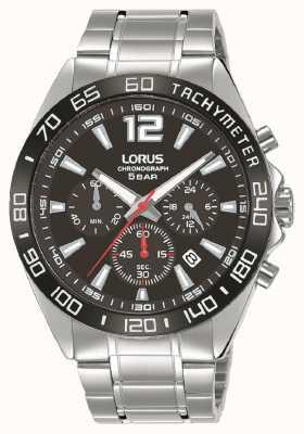 Lorus Heren | chronograaf | zwarte wijzerplaat | roestvrij stalen armband RT335JX9