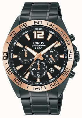 Lorus Heren | chronograaf | zwarte wijzerplaat | zwarte ip stalen armband RT336JX9
