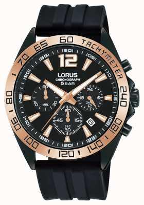 Lorus Heren | chronograaf | zwarte wijzerplaat | zwarte siliconen band RT338JX9