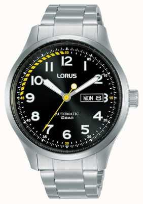 Lorus Heren | automatisch | zwarte wijzerplaat | roestvrij stalen armband RL457AX9