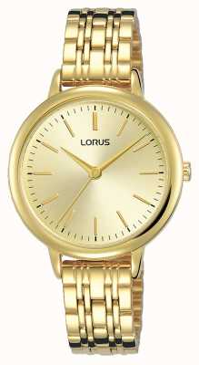 Lorus Dames | gouden sunray wijzerplaat | gouden pvd geplateerde stalen armband RG204QX9