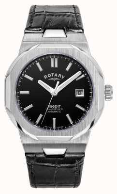 Rotary Heren | regent | automatisch | zwarte wijzerplaat | zwarte leren band GS05410/04