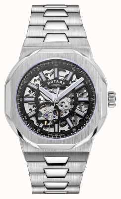 Rotary Heren | regent | automatisch | zwarte skelet wijzerplaat | roestvrij stalen armband GB05415/04