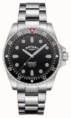 Rotary Heren | henley | automatisch | zwarte wijzerplaat | roestvrijstalen armband GB05136/04