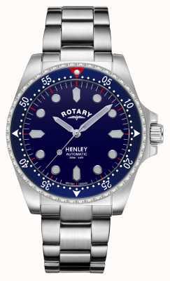 Rotary Heren | henley | automatisch | blauwe wijzerplaat | roestvrijstalen armband GB05136/05