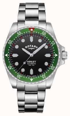 Rotary Heren | henley | automatisch | zwarte wijzerplaat | roestvrijstalen armband GB05136/71