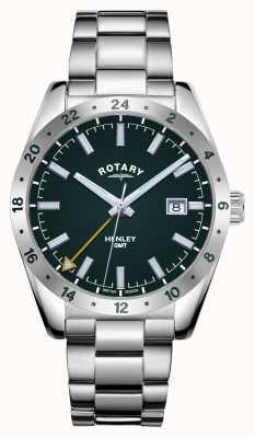 Rotary Heren | henley | gmt | groene wijzerplaat | roestvrijstalen armband GB05176/24