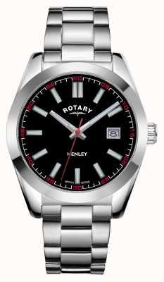 Rotary Heren | henley | zwarte wijzerplaat | roestvrij stalen armband GB05180/04