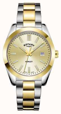 Rotary Dames | henley | champagne wijzerplaat | tweekleurige roestvrijstalen armband LB05181/03