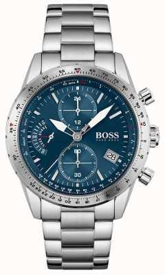 BOSS | pilot editie | heren | roestvrijstalen armband | blauwe wijzerplaat | 1513850