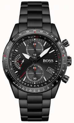 BOSS | heren | pilot editie | zwarte armband | zwarte chronograaf wijzerplaat | 1513854