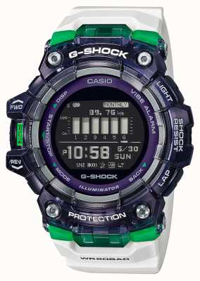 Casio G-schok | sport essentiële serie | witte siliconen band | zwarte wijzerplaat | Bluetooth GBD-100SM-1A7ER