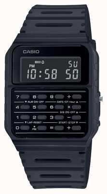Casio Retro rekenmachine horloge | zwarte kunststof band | zwarte wijzerplaat CA-53WF-1BEF